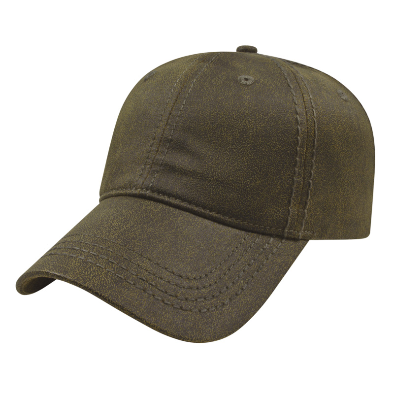 Brown Faux Leathered Poly/Cotton Cap