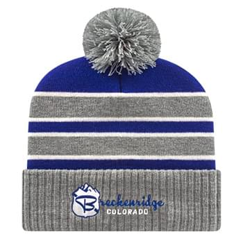 Double Stripe Knit Cap with Ribbed Cuff